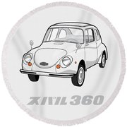 Custom Color Subaru 360 Round Beach Towel