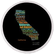 Custom Silhouette Art Print, Pop Art California Map, Modern Style Country Map, Country Maps For Home Round Beach Towel