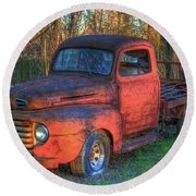 Customized Rust 1949 Ford Pickup Truck Round Beach Towel
