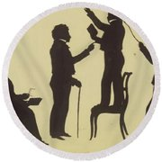 Cut Silhouette Of Four Full Figures 1830 Round Beach Towel