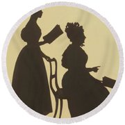 Cut Silhouette Of Two Women Facing Right 1837 Round Beach Towel