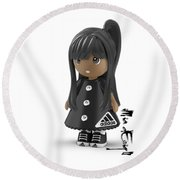 Cute 3d Girl On Shelf In Black Round Beach Towel