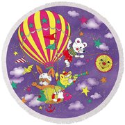 Cute Animals In Air Balloon Round Beach Towel