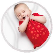 Cute Baby Boy Yawning Round Beach Towel
