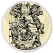 Baby Monkeys Playing Black And White Antique Illustration Round Beach Towel