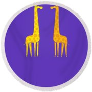 Cute Cartoon Giraffe Couple In Love Purple Edition Round Beach Towel