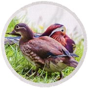 Cute Couple - Mandarin Ducks Round Beach Towel