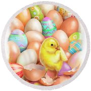Cute Easter Chick Round Beach Towel
