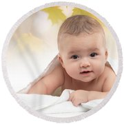Cute Four Month Old Baby Boy Round Beach Towel