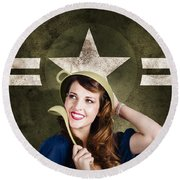 Cute Military Pin-up Woman On Army Star Background Round Beach Towel by Jorgo Photography - Wall Art Gallery
