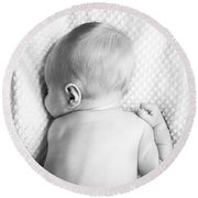 Cute Newborn Baby Black And White Round Beach Towel