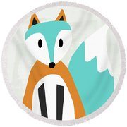 Cute Orange And Blue Fox- Art By Linda Woods Round Beach Towel