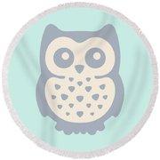 Cute Owl Round Beach Towel