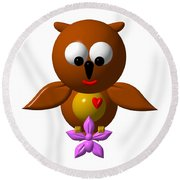 Cute Owl With Orchid Round Beach Towel