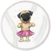 Cute Pug Puppy Round Beach Towel