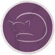 Cute Snuggled Sleeping Cat Illustration Design On Purple Backgro Round Beach Towel