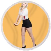 Cute Vintage Woman Isolated Over White Background Round Beach Towel