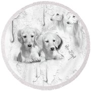 Cute White Salukis With Puppies Round Beach Towel