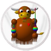 Cute Yak With Yo Yos Round Beach Towel