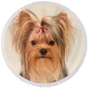 Cute Yorkie Round Beach Towel