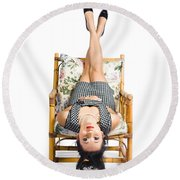 Cute Young Woman Sitting Upside Down On Chair Round Beach Towel