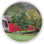 Cutler-donahoe Covered Bridge Round Beach Towel