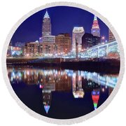 Cuyahoga Reflecting The City Above Round Beach Towel