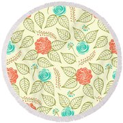 Cyan And Orange Floral Pattern Round Beach Towel