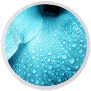 Aqua Droplets Round Beach Towel
