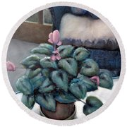 Cyclamen And Wicker Round Beach Towel