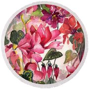 Cyclamen Round Beach Towel
