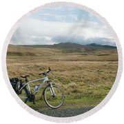 Cycle Across The Beacons Cycle Route. Round Beach Towel