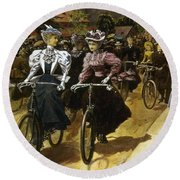 Cycling Fashions, 1895 Round Beach Towel