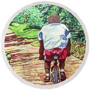 Cycling Home Round Beach Towel