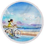 Cycling In Port De Pollenca In Majorca Round Beach Towel