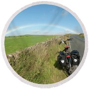 Cycling To The Rainbow Round Beach Towel