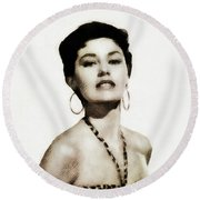 Cyd Charisse, Actress And Dancer Round Beach Towel