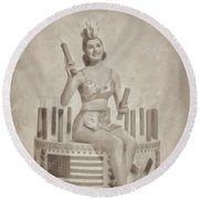Cyd Charisse Hollywood Actress, Pinup And Dancer Round Beach Towel