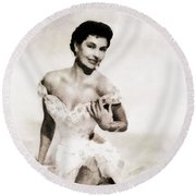 Cyd Charisse, Hollywood Legend By John Springfield Round Beach Towel