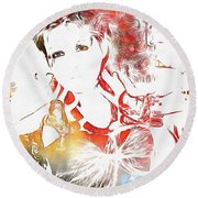 Cyndi Lauper Watercolor Round Beach Towel