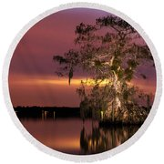 Cypress At Twilight Round Beach Towel