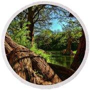 Cypress Bend Park In New Braunfels Round Beach Towel