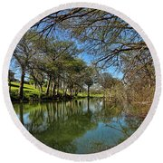 Cypress Bend Park Reflections Round Beach Towel