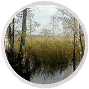 Cypress Landscape Round Beach Towel