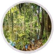 Cypress Pond Delight Round Beach Towel