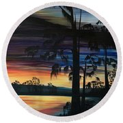 Cypress Sunset Round Beach Towel