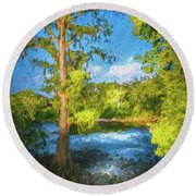 Cypress Tree By The River Round Beach Towel