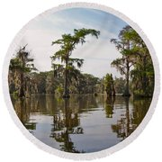 Cypress Trees And Spanish Moss In Lake Martin Round Beach Towel