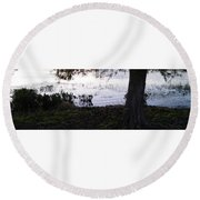 Cypress Trees And Water2 Round Beach Towel