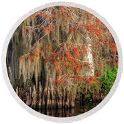 Cypress Winter Colors Round Beach Towel